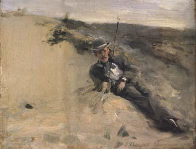 John Singer Sargent Portrait of Ralph Curtis on the Beach at Scheveningen (mk18) oil painting image